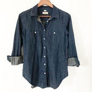 Loft Chambray Softened Dark Wash Button Down Shirt